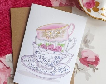 Time for Tea A6 Glitter Greeting Card