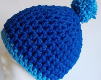 beanie, crochet hat, wooly hat, with pompon, blue