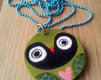 Illustrated wooden pendant. Female Owl-mandala necklace, handmade one of a kind