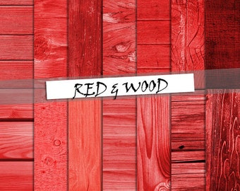 Wood digital paper: Red wood with distressed wood and wood grain; for commercial use