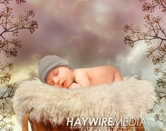 Newborn, Baby, Toddler, Child, Flower Nature Basket Photography Digital Backdrop Prop for Photographers with PNG Coverp Layer