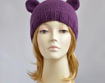Bear Ears Beanie Hand Knit Hat, Women Hat or Men Hat  Accessories, Bear Beanie / Bear Hat, Ears Hat