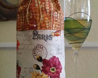 Deluxe Wine Bag-Flower Power Collection (Orange n' Yellow)