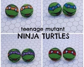 TMNT Fabric covered button earrings  FREE SHIPPING!