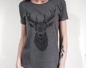Deer shirt, womens t-shirt, womans vegan t shirt, deer tshirt, deer head, boho shirt, animal print, woodland, forest tshirt, nature print