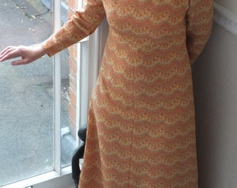 SALE! Maxi Dress/  Long Vintage Party Dress/  A-line Multicoloured Lurex Crimplene/ Long Sleeves 1970s Fully Lined Hand made