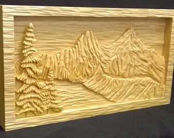 Mountain Lake Relief Carving - Sugar Pine