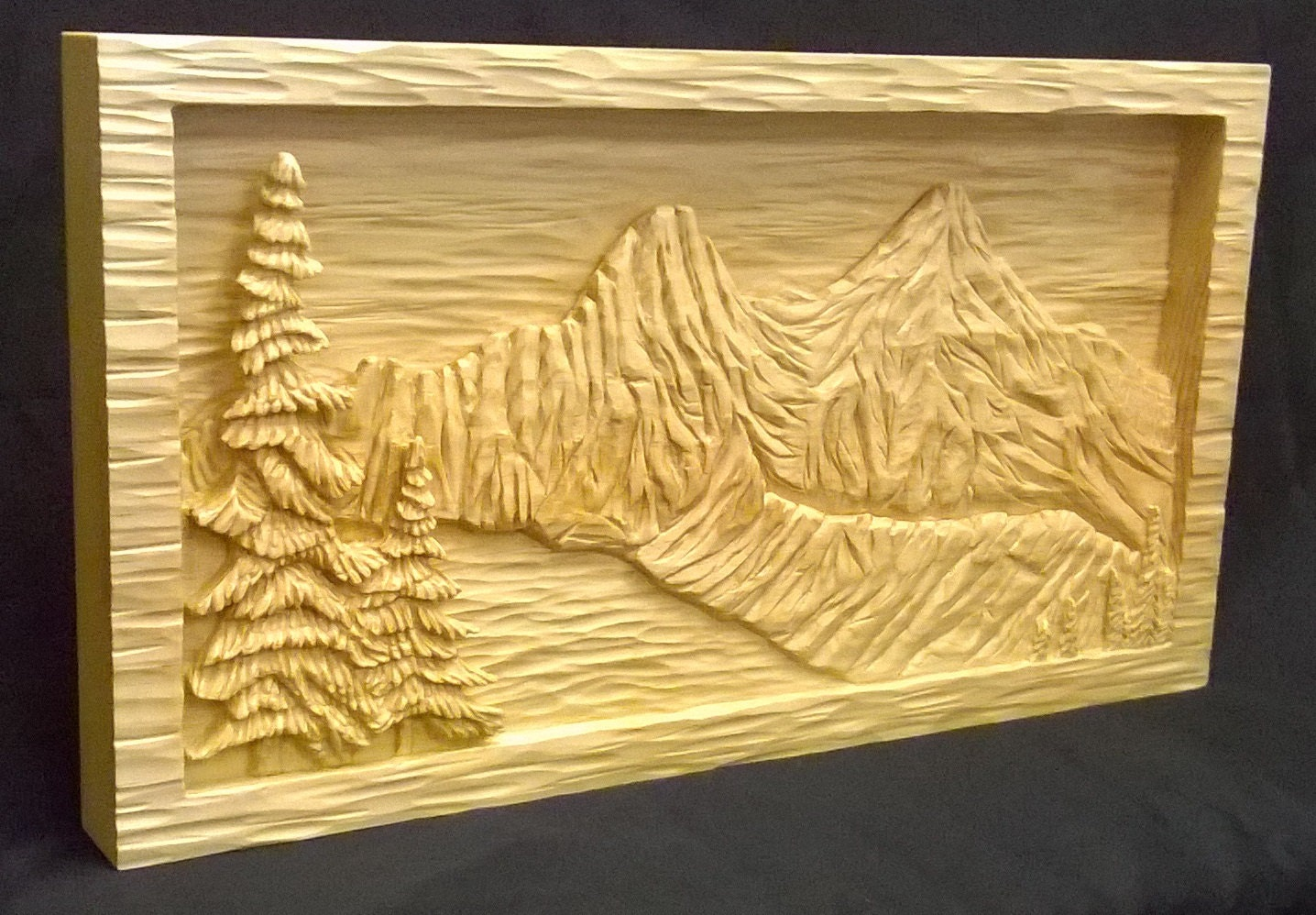 Mountain lake relief carving sugar pine by idahowoodcarvings
