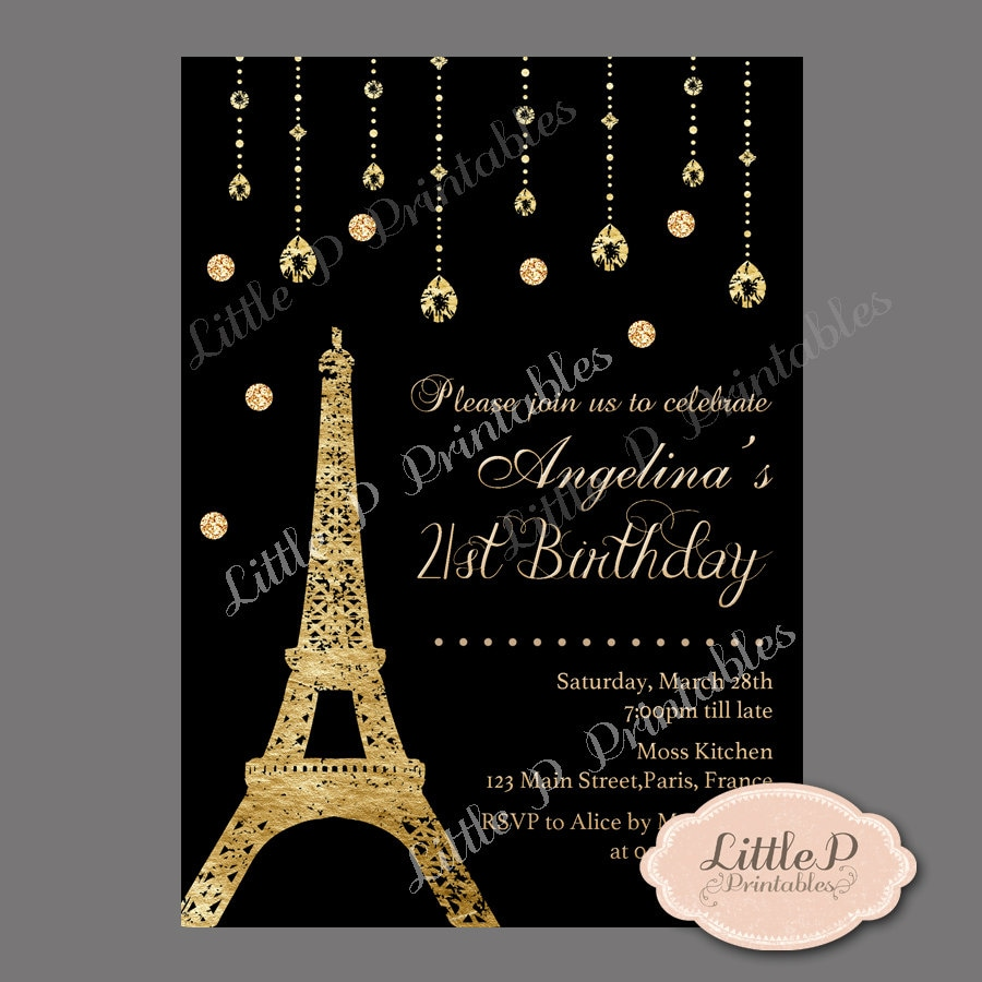 Paris Eiffel Tower 21st Birthday Invitation Sweet 16 Birthday – 21st Birthday Invitations Ideas