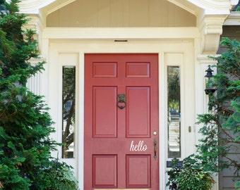 """Front Door Decoration Hello Decal Sign Custom Vinyl Saying Monogram 6.75"""" x 4"""""""