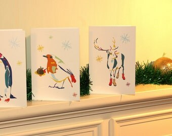 Animal Christmas Cards 12 pack - 3 Quirky designs
