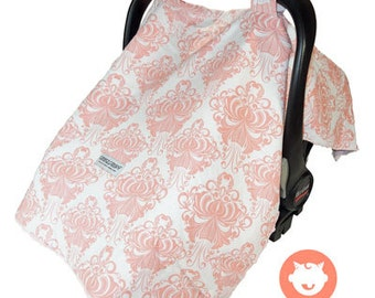 Peach Damask Car Seat Canopy Cover (w/ Monogram Option)