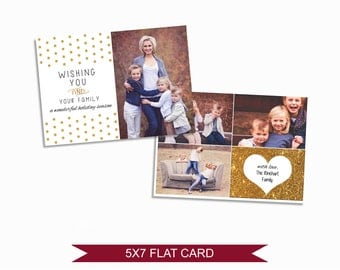 Christmas Card Template with Gold Polka Dots - 5x7 Photo Card - Photoshop Template - INSTANT DOWNLOAD or Printable - CC02
