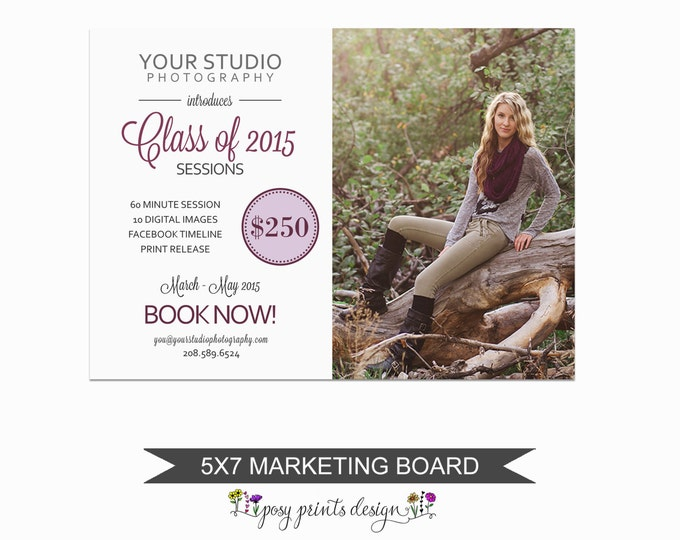 Senior Session Marketing Board - Template for Photographers - Digital Photoshop Template - 5x7 Photography Design - GCMS01
