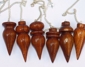 2 Single Carved Lathed Rare MANGO Wood Wooden DOWSING PENDULUMS with 2 Storage Pouches, Divination