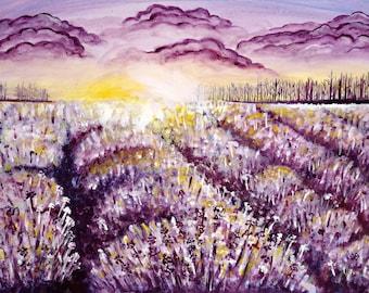 ORIGINAL painting landscape, wildflower meadow, sunset 50 x 70 cm