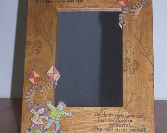Wooden, hand inked and stamped mirror or photo frame.