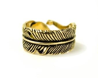 Feather Ring Adjustable Feather Wrap Ring Boho Jewelry - FRI002YB