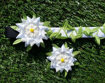 Horse pony browband, 'Spring' brow band, distinctive equestrian riding tack, handmade satin velvet ribbon weaving, leaves and daisy flowers