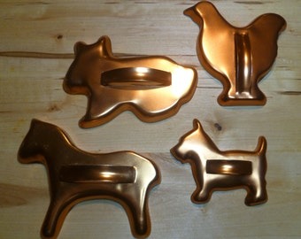 Vintage Animal Cookie Cutters Copper Finish