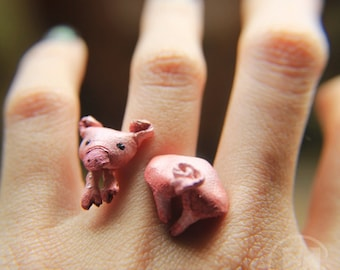 Pig leather ring, made to order unique worn art