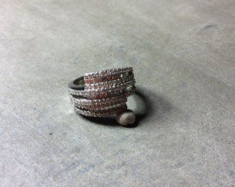 Three Row Wrap Around with Baguette Cubic Zirconia and Sterling Silver Ring Size 9.25