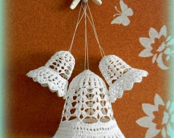 "Crochet bells, unique set of 3 (2 x 3"" and 1 x 4.33""), Wedding bells ..."