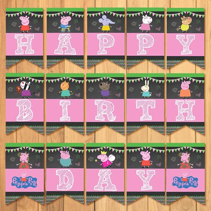 Peppa Pig Banner Peppa Pig Birthday Banner By: Peppa Pig Banner Chalkboard Peppa Pig Birthday By SometimesPie