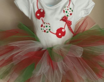 Baby Christmas Necklace Tutu Onesie Dress 1st Outfit w/matching headband