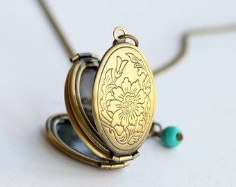 locket pendant necklace,antique brass Locket Necklace with turquoise,vintage style,for her, gift for mom, Mother's Day gift, family necklace