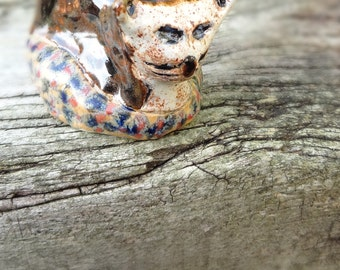 Stoneware Cat Ornament in Basket - Cat Sculpture - Clay Animals - Pottery Cat
