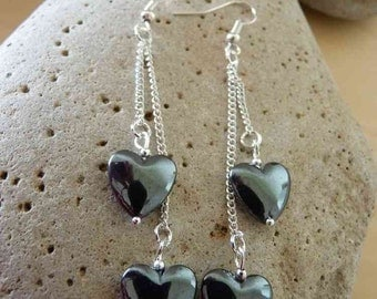 Hematite Heart Double Earrings