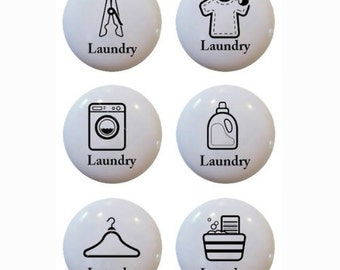 Ceramic Laundry Icon Knobs or Drawer Pulls   Set of  6