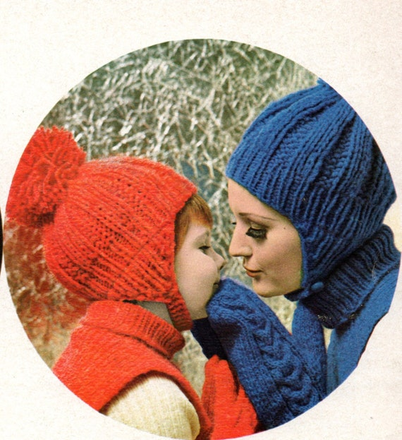 Earflap Hat Dicky and Mittens Knitting Patterns Adult Woman