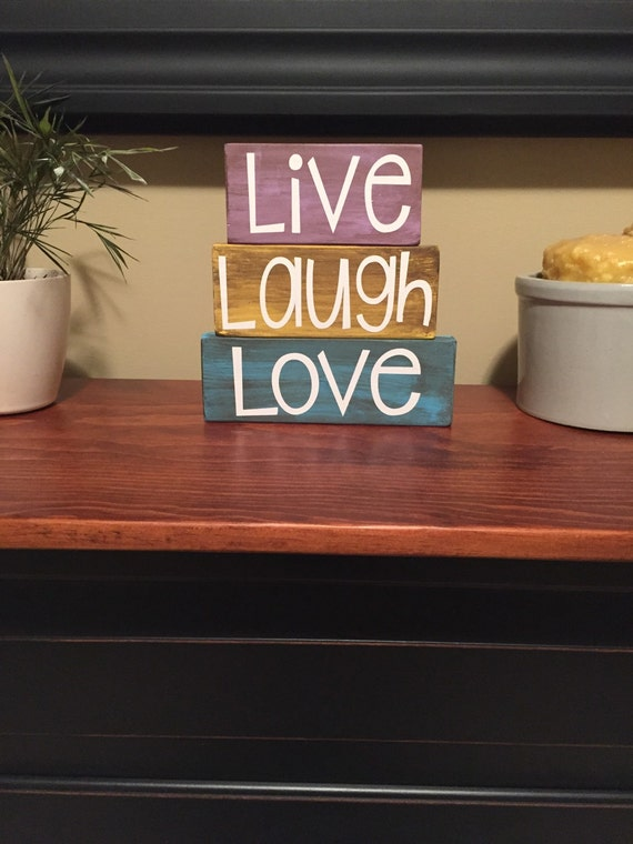 Live Laugh Love Wood Block Stacker Set Home Decor Sign