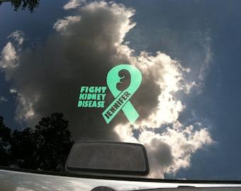 Kidney Disease Awareness, Car Decal, Decal Window, Vinyl Decal, Transplant Decal, Vinyl Stickers, Kidney Donor, Kidney Transplant, Cancer