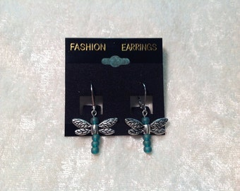 Beaded dragonfly earrings with leverback closures