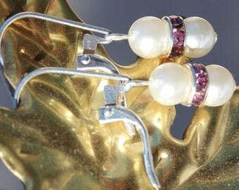 Sparkling Twin Pearl Earrings