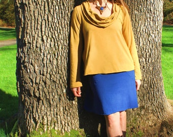SALE ** Scoop Cowl Long Sleeve Top, Organic Cotton Jersey