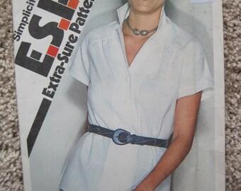 UNCUT Misses Shirt - Size 8, 10, 12 - Simplicity Pattern 9464 - Vintage 1980