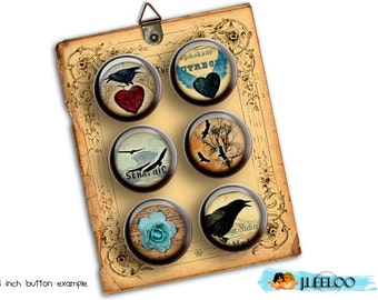 Digital printable RAVEN 1.313 inch button machine crow black heart scary halloween magnet pendant instant download printable - tn222
