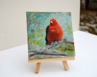 """Scarlet Tanager Mini-Painting with Wooden Easel. Original 4"""" x 4"""" Acrylic Painting"""