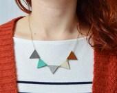 Pepa bunting necklace Leather triangle pendant Modern minimalist jewellery Upcycled eco friendly jewelry