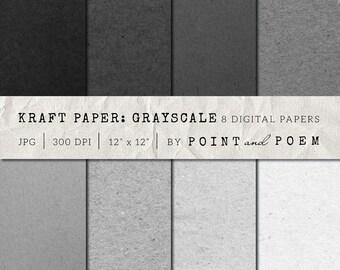 50% OFF SALE Kraft Digital Paper, Digital Scrapbooking Paper, Black, Gray, Chipboard, Cardboard Backgrounds - Commercial Use