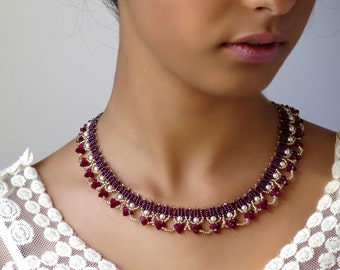 Pearl and crystal necklace, Swarovski crystal necklace, Red statement necklace, Burgundy necklace, Red necklace, Red beaded necklace