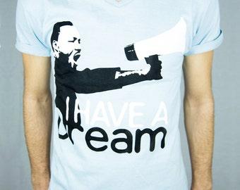 MLK Tshirt - Dream To Reality | MLK Inspirational Shirt, Dream Quote Top, Hand Screen Print Shirt - V-neck Men/Boys 100% Combed Cotton