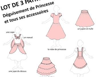Patrons PDF - Lot de 3 : Déguisement Petite Princesse et ses accessoires (1 et 2), cape, jupe du dessus, nœud, jupons, tablier