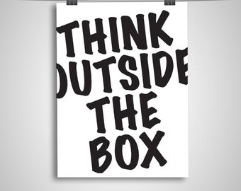 """Typography Poster """"Think Outside the Box"""" Motivational Inspirational Creative Quote Happy Print Wall Art Home Decor"""