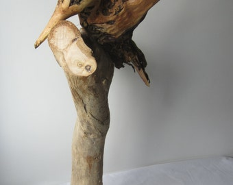 Hand carved Kingfisher driftwood sculpture - driftwood - wood carvings, wood sculpture bird
