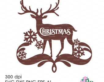 Christmas Deer Reindeer Wall Decor Decal Vinyl (svg, dxf, ai, eps, png) Vector ClipArt Cut file Silhouette Cameo EasyCutPrintPD